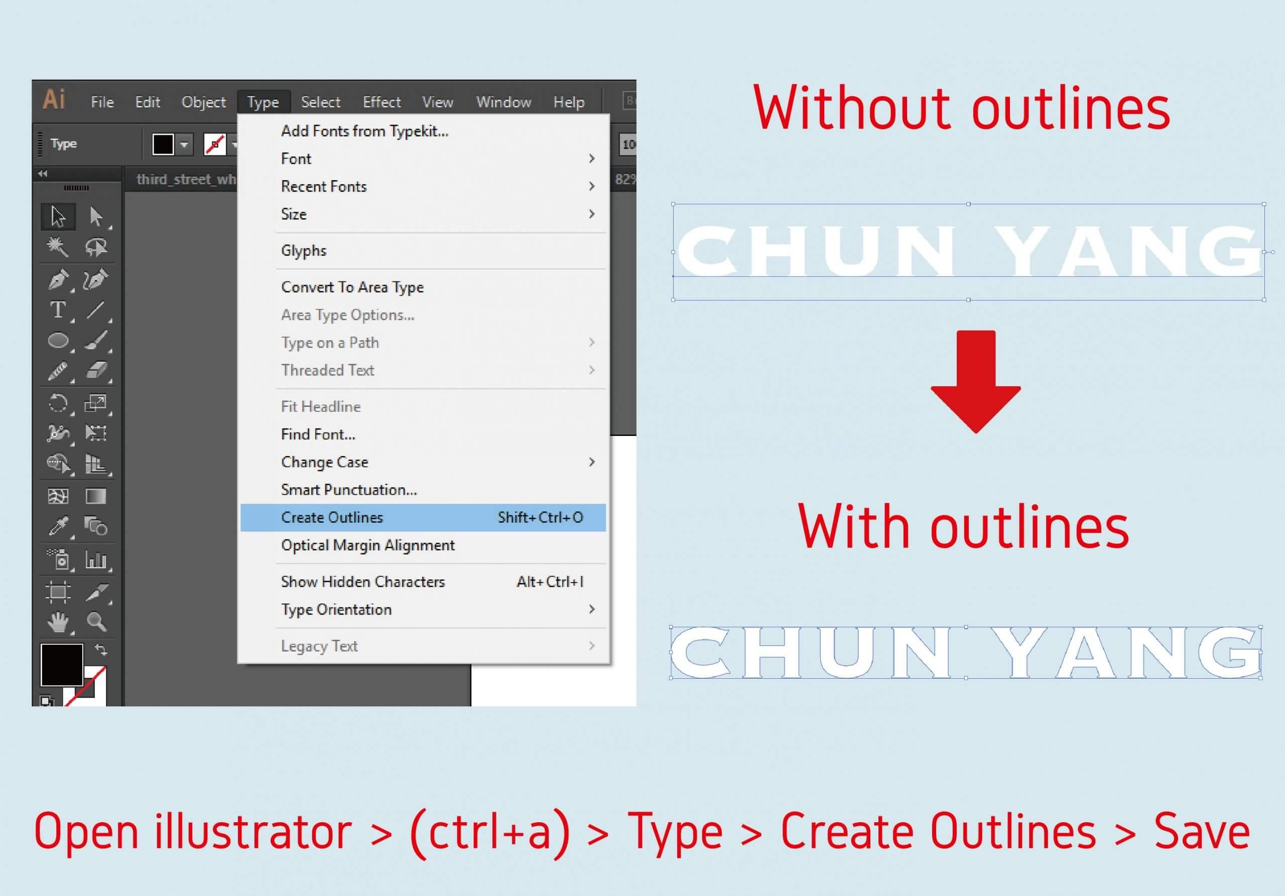文字建立外框 Create outlines