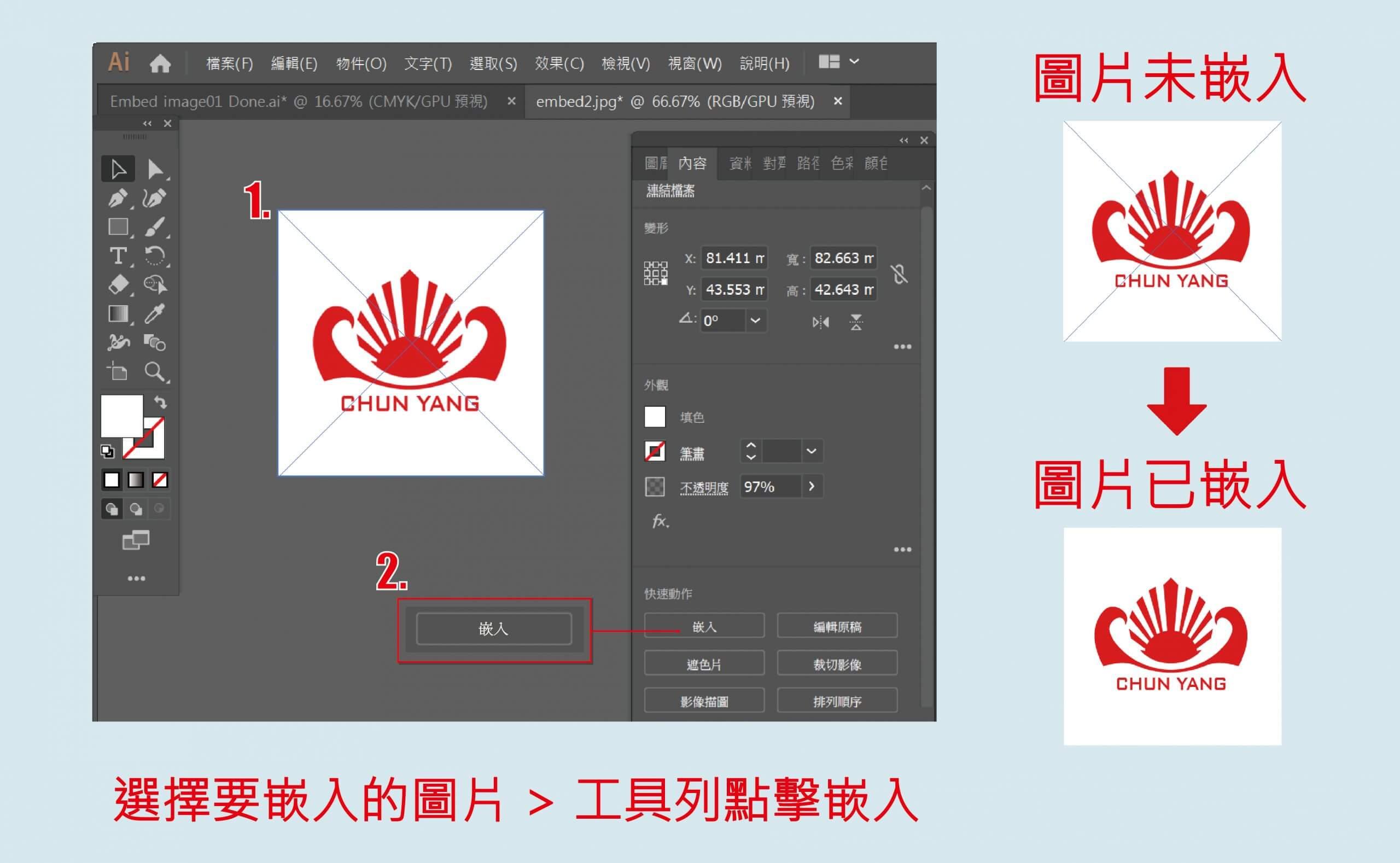 Embed image 中文